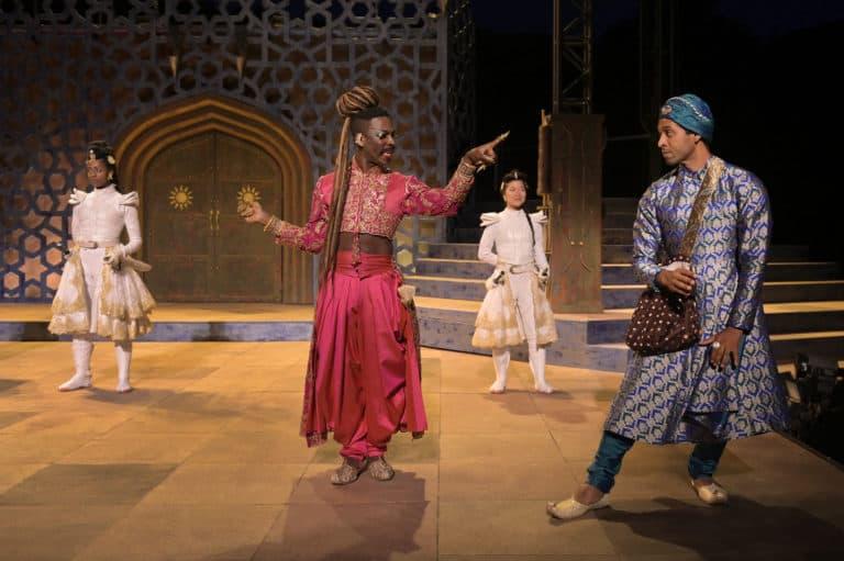 (l-r) Emma Van Lare (Hamida), Rotimi Agbabiaka (Salima), Sango Tajima (Roshni), and Raji Ahsan (Thermometer)