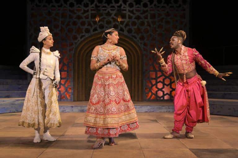 (l-r) Nandita Shenoy (Gulal), Lipica Shah (Noorah), and Rotimi Agbabiaka (Salima)