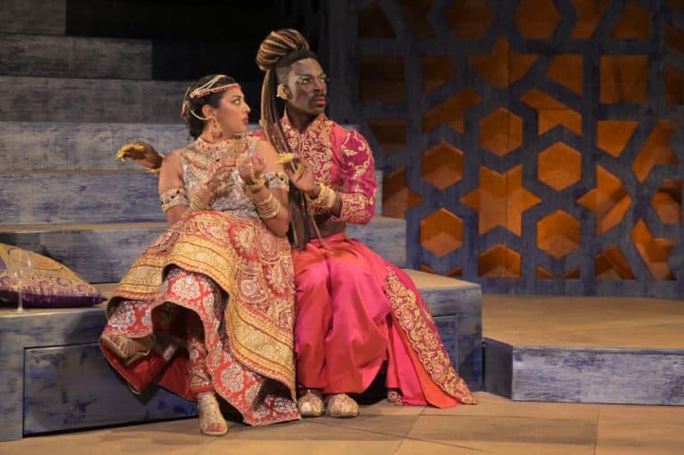 (l-r) Lipica Shah (Noorah) and Rotimi Agbabiaka (Salima)