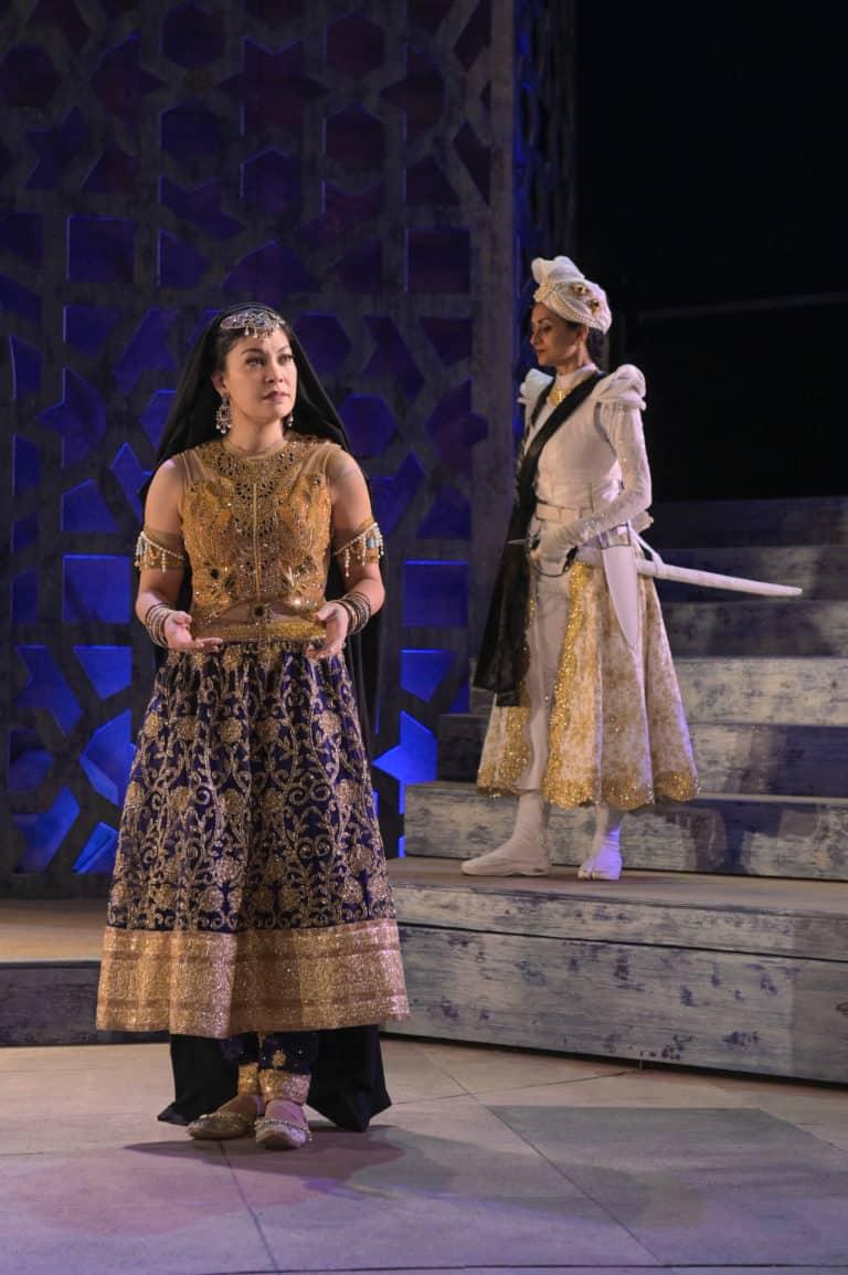 (l-r) Rinabeth Apostol (Queen Mariyam) and Nandita Shenoy (Gulal)