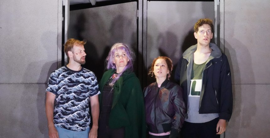 Dean (far right) with cast members Kevin Kemp, Annie Worden, and Jenny Nelson. Photo by Jay Yamada.